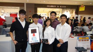 "Team from ITE College Central displaying their winning project ""Bus Stopper for the Visually Impaired"" at the A&RT Challenge Award Ceremony. Front left to right: Wong Sian Liang (Team Leader), Tan Keng Ting Kenny, Jeanni Francisca & Audric Ping Wei Xiang. Back: Alex Low (Lecturer and Team Mentor) Photo by Royson Poh"