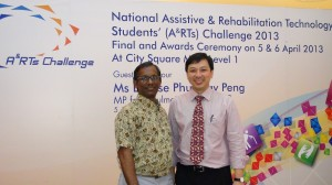Co-founders of the A&RTs Challenge, Dr Bala Rajaratnam (left) and Prof Ang Wei Tech (right) at the award ceremony in City Square Mall. Photo by Royson Poh